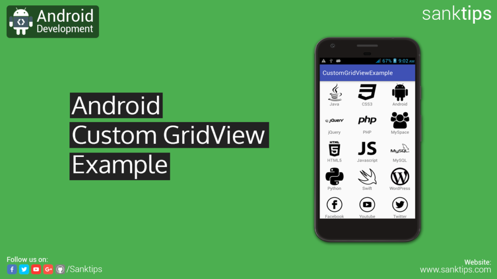 Android Custom GridView Example - Sanktips