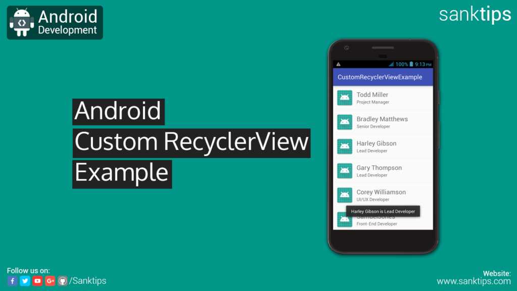 Android RecyclerView with Custom Adapter Example - Sanktips